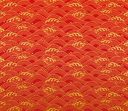 Chinese design ocean. wave pattern. Royalty Free Stock Photo