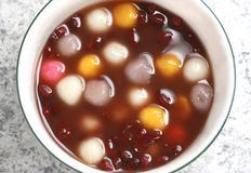 Chinese dessert, red bean soup with rice ball. A red bean soup with rice ball Royalty Free Stock Images