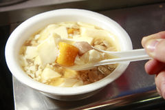 Chinese dessert, tofu pudding. Tofu pudding with taro rice ball Royalty Free Stock Photos