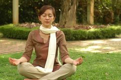 Chinese Devotee Meditate. A blissful Chinese devotee meditating at garden Royalty Free Stock Image