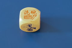 Chinese Dice with blue background royalty free stock images