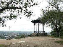 Chinese die as op een heuvel door groene bomen tegen de achtergrond van stedelijke gebouwen en de heldere de zomerhemel wordt omr royalty-vrije stock afbeeldingen