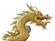 Chinese die draak op witte achtergrond wordt geïsoleerd Royalty-vrije Stock Foto's