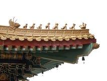 Chinese die stijleaves, een deel van dak, op witte backgroun wordt geïsoleerd Stock Fotografie