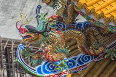 Chinese die tempelkunst in Ang Sila, Chonburi, Thailand ook wordt bekend als royalty-vrije stock foto