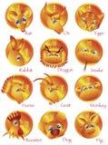 Chinese Dierenriem 12 Dieren in Gouden Cirkel Stock Afbeelding