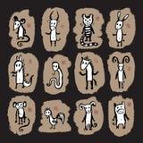 Chinese dierenriem 12 dierlijk astrologisch teken Stock Afbeeldingen