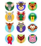 Chinese dierenriem dierlijke pictogrammen Royalty-vrije Stock Foto's
