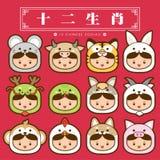12 Chinese dierenriem, pictogram vastgestelde Chinese Vertaling: 12 Chinese dierenriemtekens: rat, os, tijger, konijn, draak, sla Stock Foto