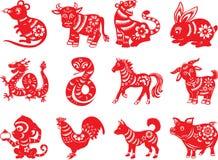 Chinese dierenriem twaalf dieren stock illustratie