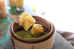 Chinese Dim sum in bamboo basket Royalty Free Stock Images