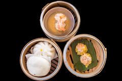 Chinese Dim sum in bamboo basket Royalty Free Stock Photos