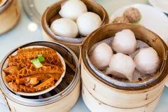 Chinese Dim Sum in Bamboo Steamer Stock Photo