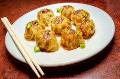 Chinese Dim Sum Dumplings. Delicious Chinese Dim Sum dumplings topped with scallions royalty free stock photo