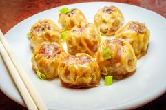 Chinese Dim Sum Dumplings. Delicious Chinese Dim Sum dumplings topped with scallions royalty free stock photos