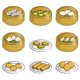 Chinese dim sum icons. A vector illustration of Chinese dim sum icons Royalty Free Stock Images
