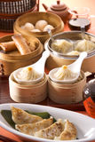Chinese Dim Sum Shrimp Dumplings On White Dish In Restaurant Stock Photos