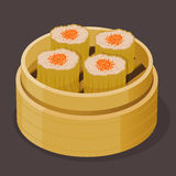 Chinese Dim Sum Steamed Shumai With Fish Roe Royalty Free Stock Photography