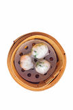Chinese dimsum  steamer prawn isolated on white background Stock Photography