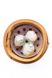 Chinese dimsum  steamer prawn isolated on white background Stock Image