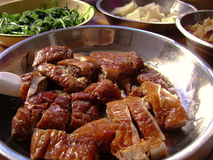 Chinese dinner with baked duck Royalty Free Stock Images