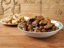 Chinese dinner duck stew and fried chicken Royalty Free Stock Photography