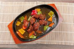 Chinese dish - beef with vegetables close-up Royalty Free Stock Image