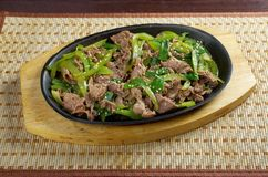 Chinese dish - beef with vegetables close-up Royalty Free Stock Images