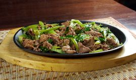 Chinese dish - beef with vegetables close-up Royalty Free Stock Photo