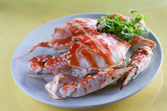 Chinese dish: crab. It is very simple to cook live crab, just put it into boiling water or steam it Royalty Free Stock Photo