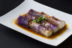 Chinese dish: steamed eggplant / aubergine  zemg qie zi in Chinese. In China`s luxry hotel or in small restraunt , you can  find this dish. raw material is cheap Royalty Free Stock Image
