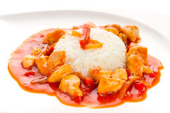 Chinese dish with sweet and sour chicken Royalty Free Stock Photo