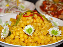 Chinese dishes. Delicious and nice-looking Chinese dishes made by corn, flowers, etc Stock Photo