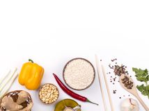 Chinese food raw ingredients, vegetables and nuts. Chinese dishes are most popular around the world. Some sorts of cuisine are Anhui, Cantonese, Fujian, Hunan stock photo