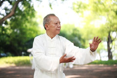 Chinese do taichi outside Stock Photos