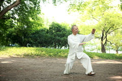 Chinese do taichi outside Royalty Free Stock Photo