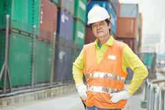 Chinese dock warehouse worker Stock Photo