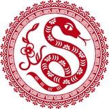 Chinese document besnoeiingsslang als symbool van jaar Stock Foto