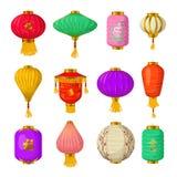 Chinese document geplaatste lantaarnspictogrammen, beeldverhaalstijl Stock Afbeelding