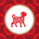Chinese dog year zodiac. Red dog with white ornament. The symbol of the eastern horoscope. royalty free illustration