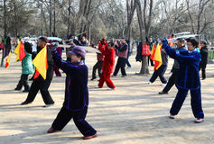 Chinese doing Taiji. People doing morning exercise  in xigu park Tianjin China photoed on March 9th 2014 Stock Image