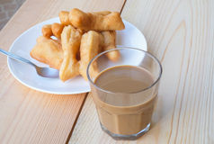 Chinese Donut with Thai Traditional Coffee Royalty Free Stock Photography
