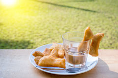 Chinese Donut with Thai Traditional Coffee Royalty Free Stock Photo