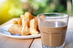 Chinese Donut with Thai Traditional Coffee Stock Photo