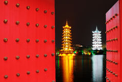 Chinese door with Gold and Silver Pagodas Royalty Free Stock Images