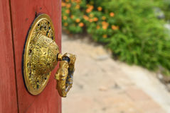 Chinese door knob. Chinese style door knob in temple Stock Image