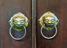 Chinese door with a lion head. Stock Photography
