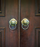 Chinese door with a lion head. Royalty Free Stock Photos