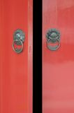 Chinese Door Opening. In red and steel Royalty Free Stock Photography