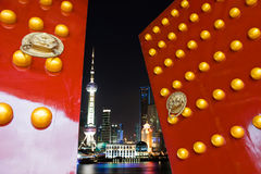 Chinese door and shanghai skyline Stock Photo